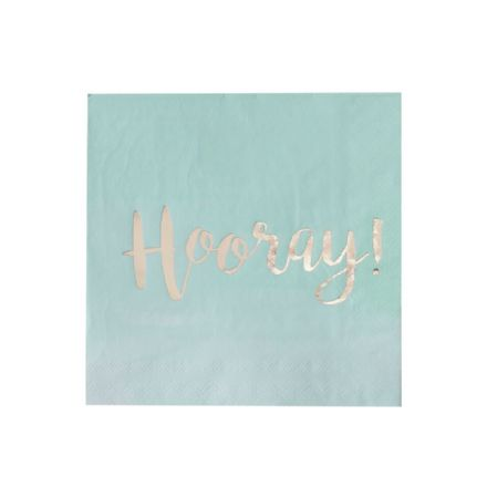 Mint & Gold Ombre 'Hooray' Paper Napkins - pack of 20